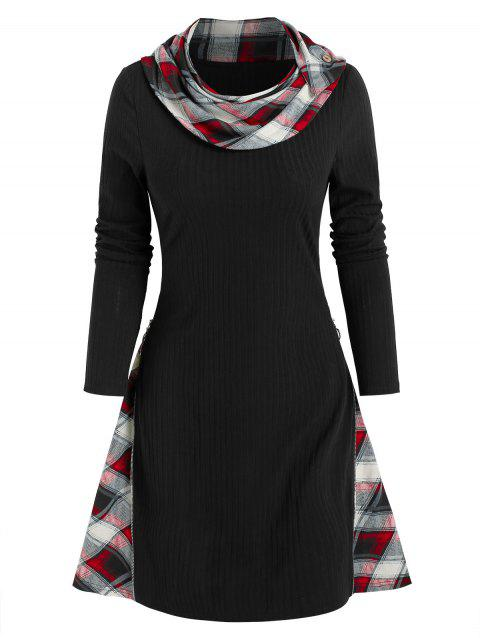Plaid Print Ribbed Convertible Sweater Dress