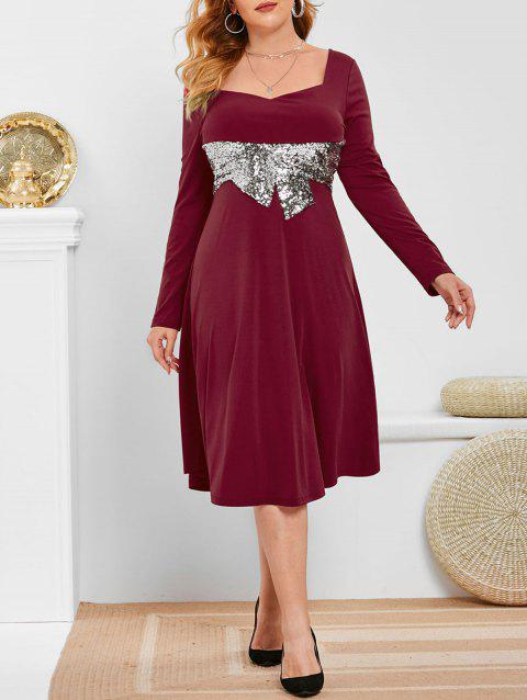 Plus Size Sequined Midi Dress