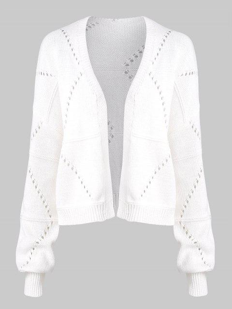 Solid Open Front Pointelle Knit Cardigan