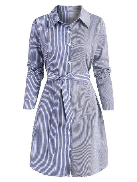 Striped Mix Belted Shirt Dress
