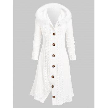 Plus Size Fluffy Hooded Braid Knitted Coat