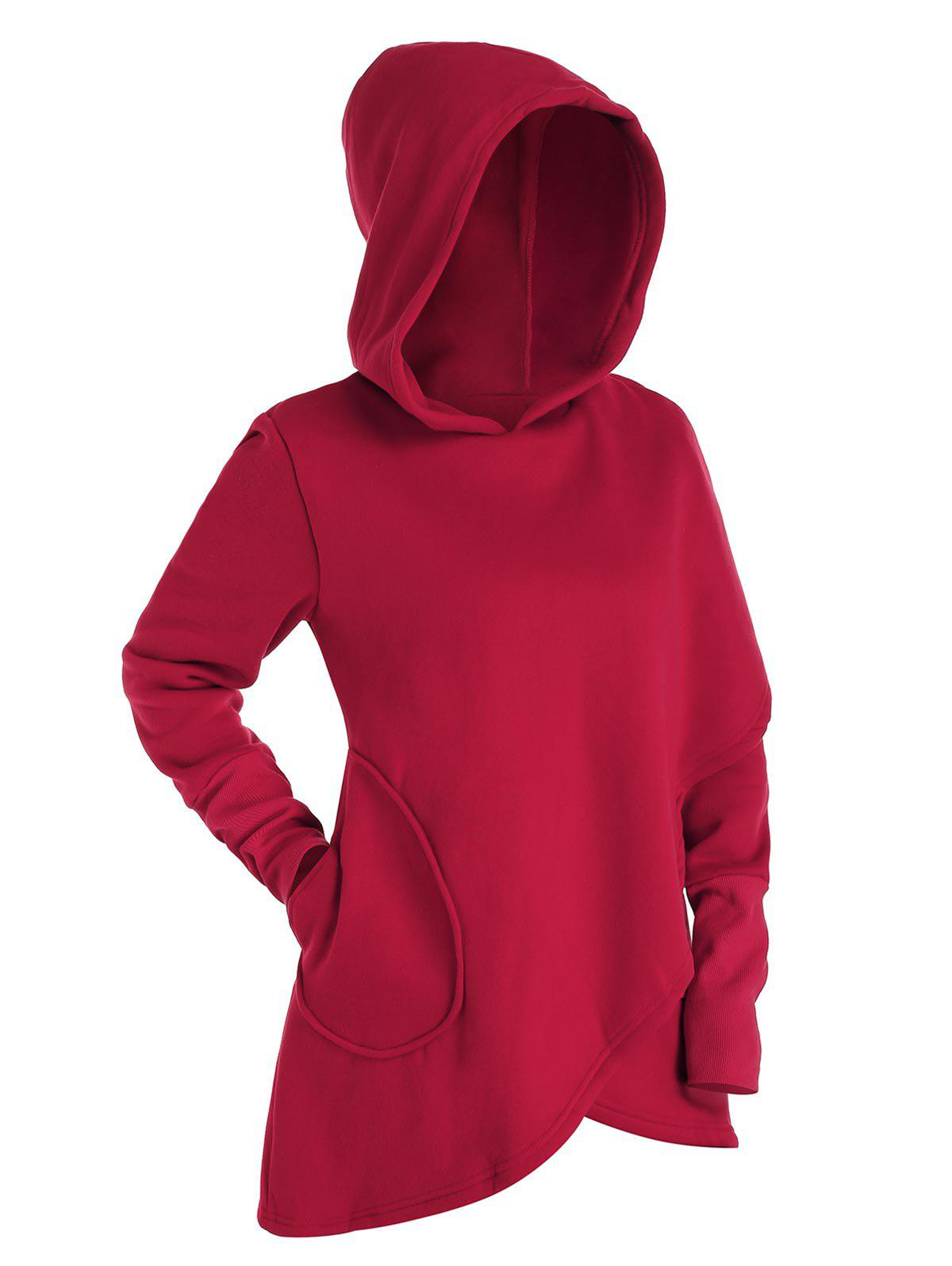 Sweat à Capuche Superposé Tulipe - Châtaigne Rouge XL
