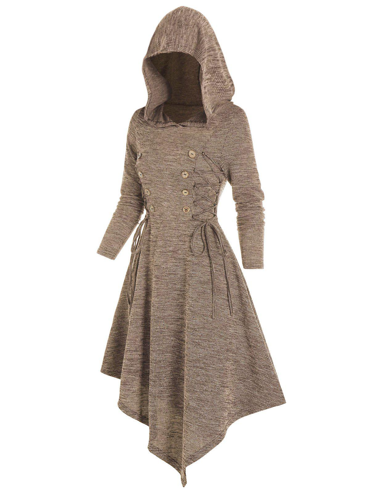 Lace Up Hooded Asymmetrical Knitted Dress - COFFEE 3XL