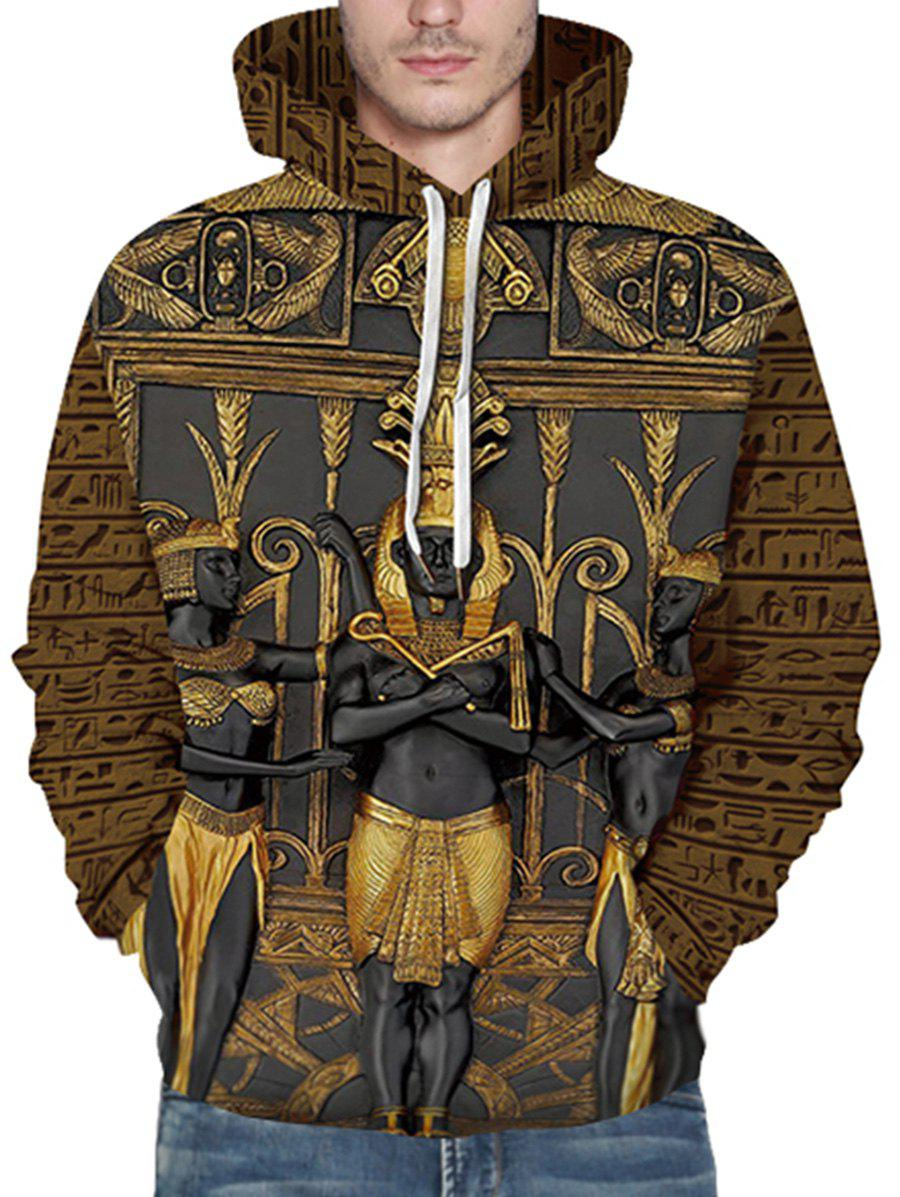 3D Print Pharaoh Front Pocket Drawstring Hoodie - DEEP BROWN XL