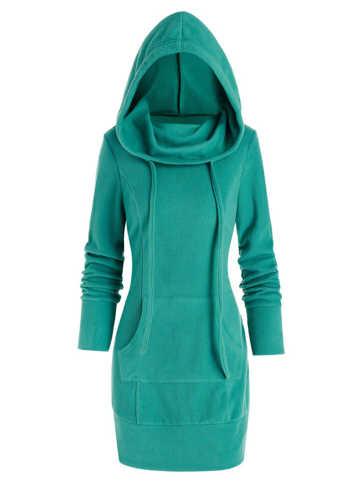 Fleece Kangaroo Pocket Mini Hoodie Dress - TURQUOISE 2XL
