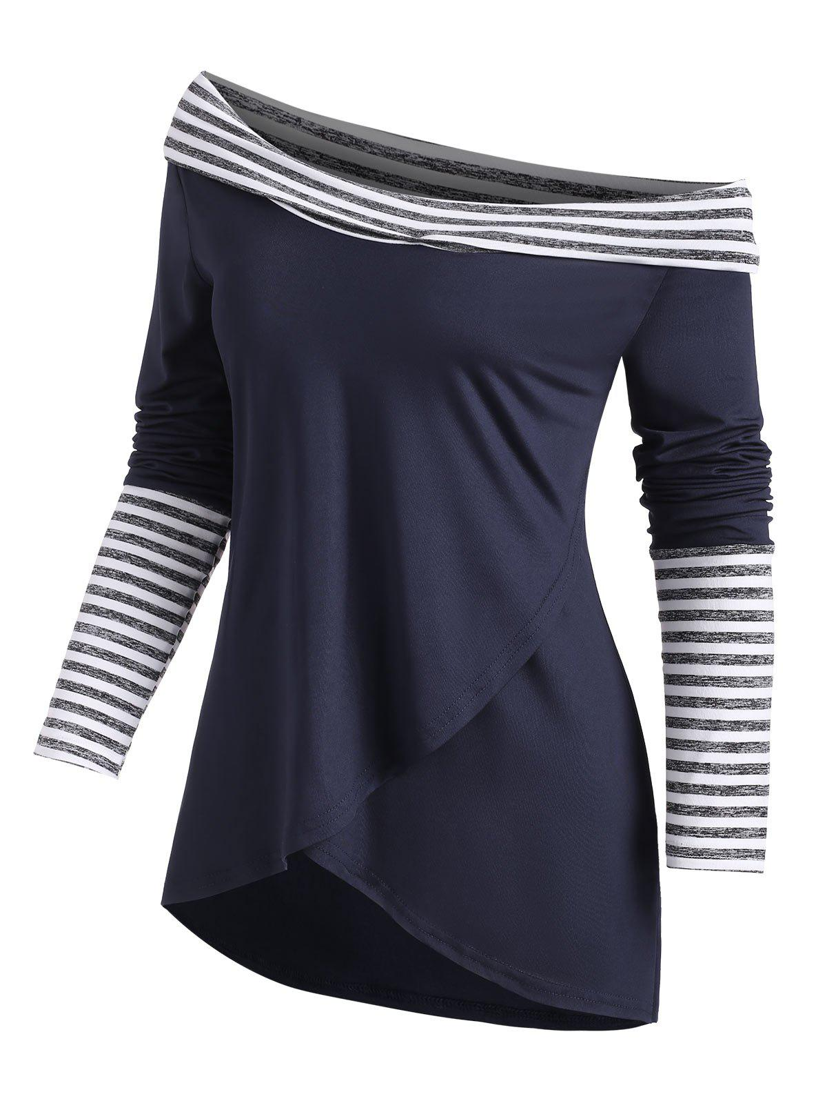 Overlap Front Cowl Neck Stripes Panel Tee - DEEP BLUE 2XL
