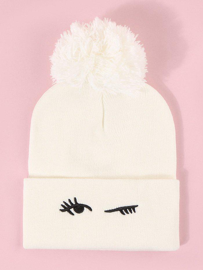 Embroidery Blinking Eye Knitted Bubble Hat - MILK WHITE