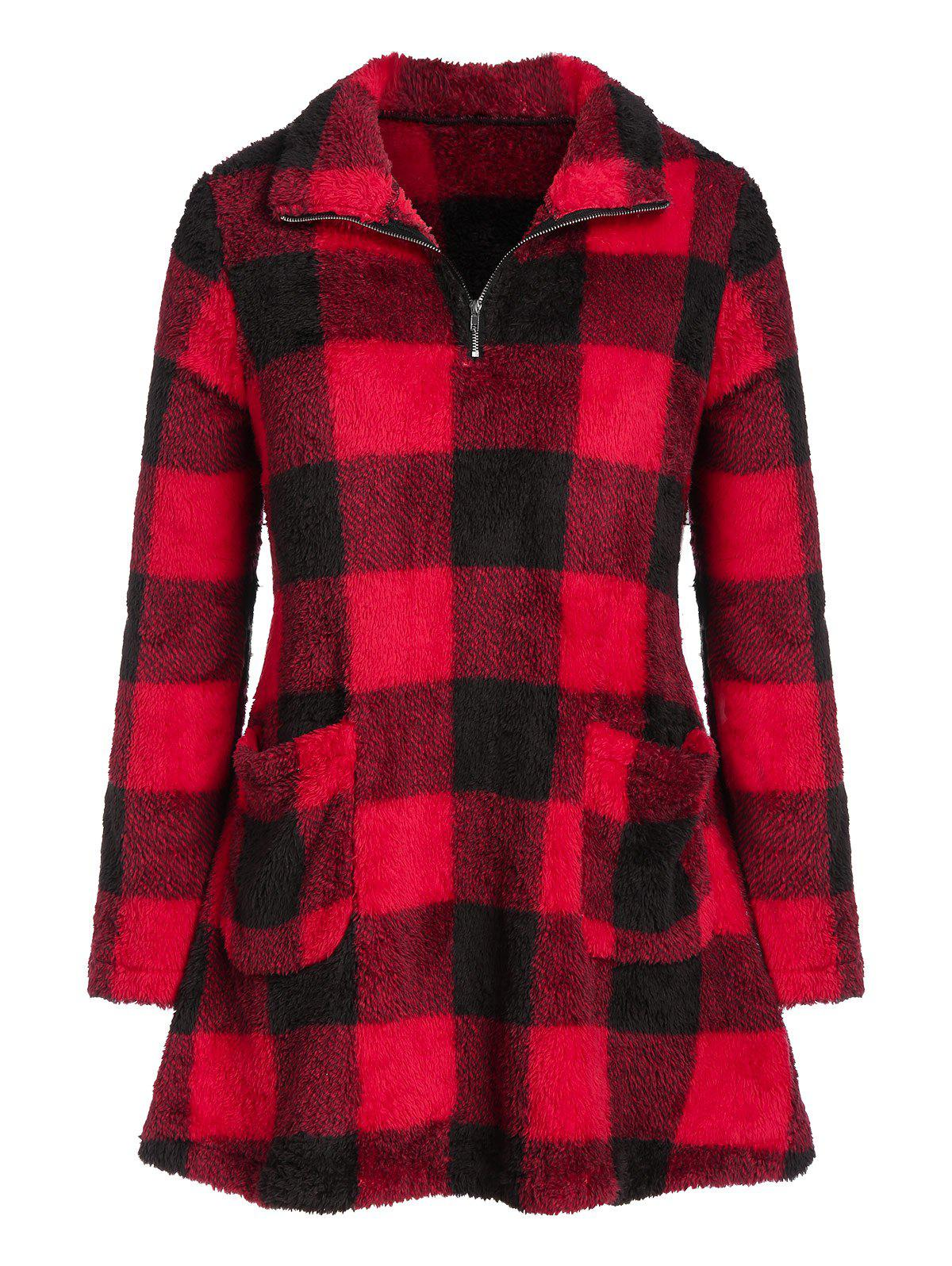 Plus Size Plaid Zipper Pockets Fuzzy Sweatshirt - RED 2X