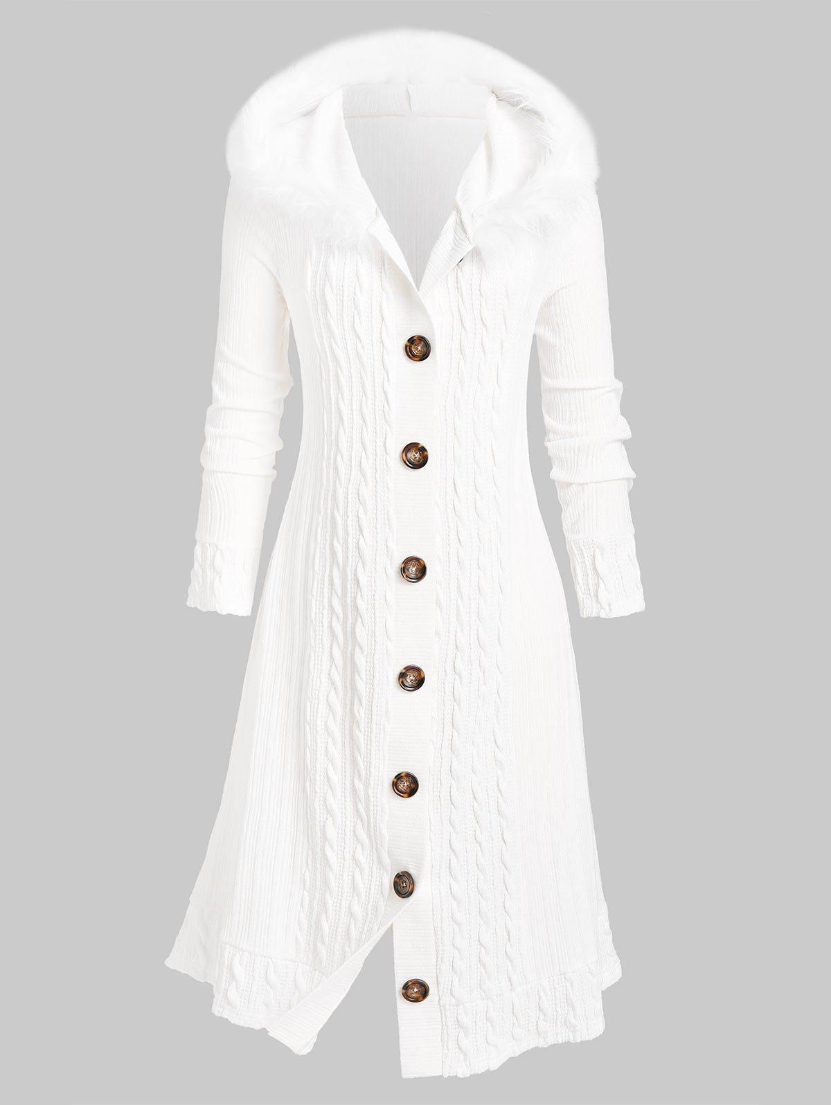 Plus Size Fluffy Hooded Braid Knitted Coat - WHITE 1X