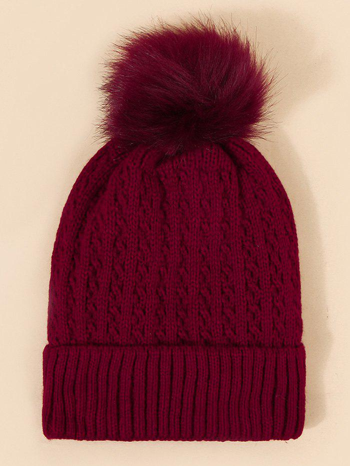 Braid Faux Fur Knitted Bubble Hat - RED WINE