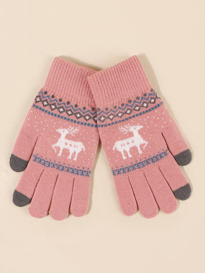 Christmas Elk Geometric Pattern Knitted Gloves - ROSE