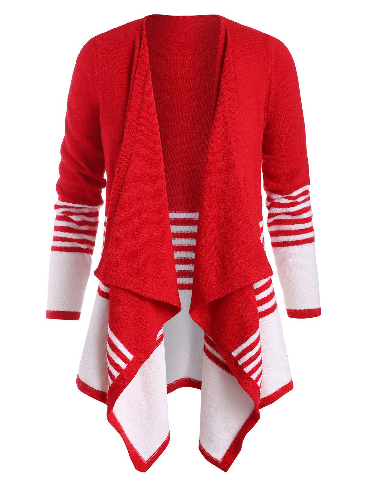 Plus Size Bicolor Striped Draped Open Front Cardigan - RED 3X