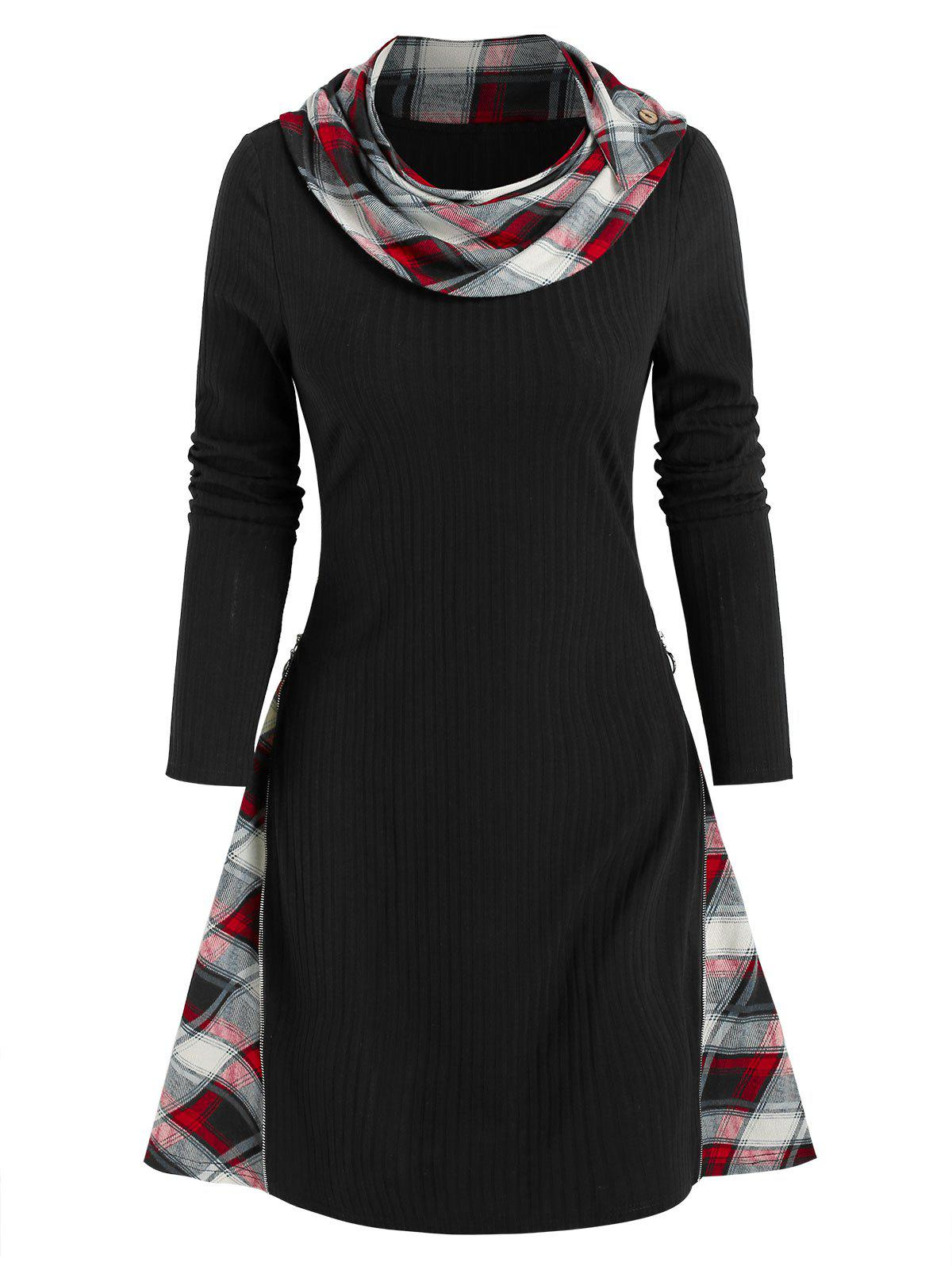 Plaid Print Ribbed Convertible Sweater Dress - BLACK 2XL