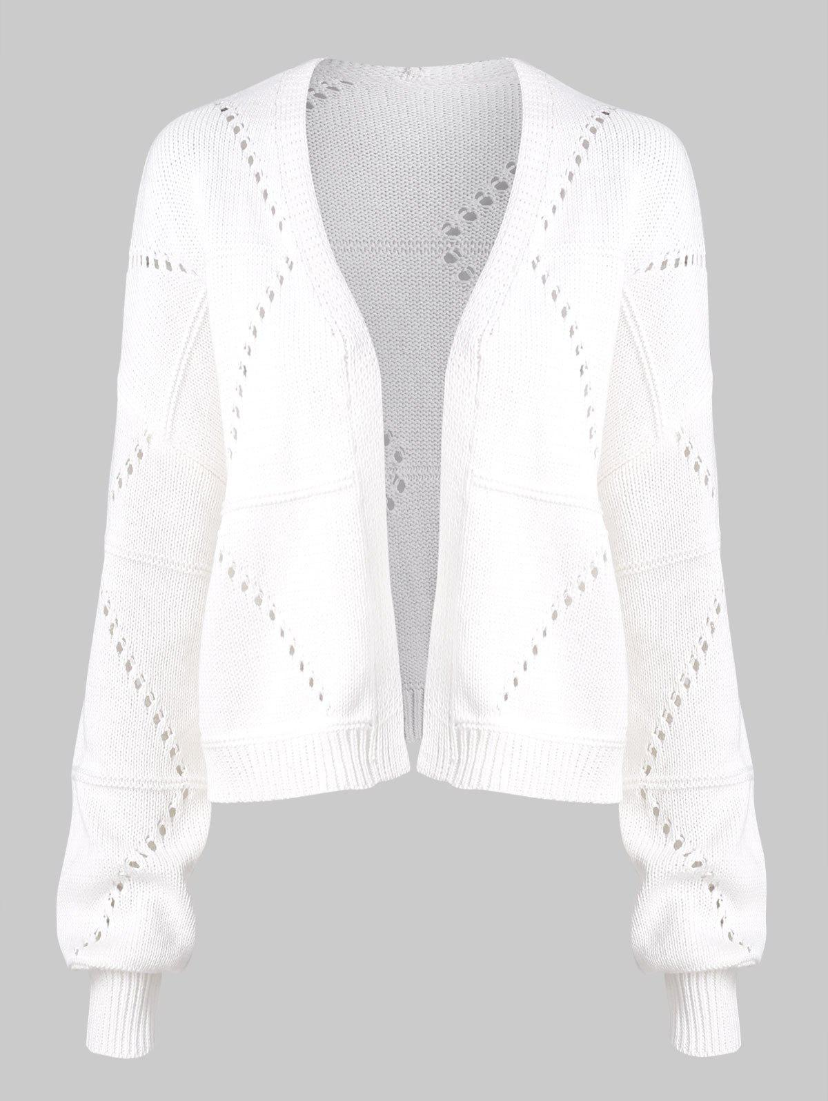 Solid Open Front Pointelle Knit Cardigan - WHITE XL