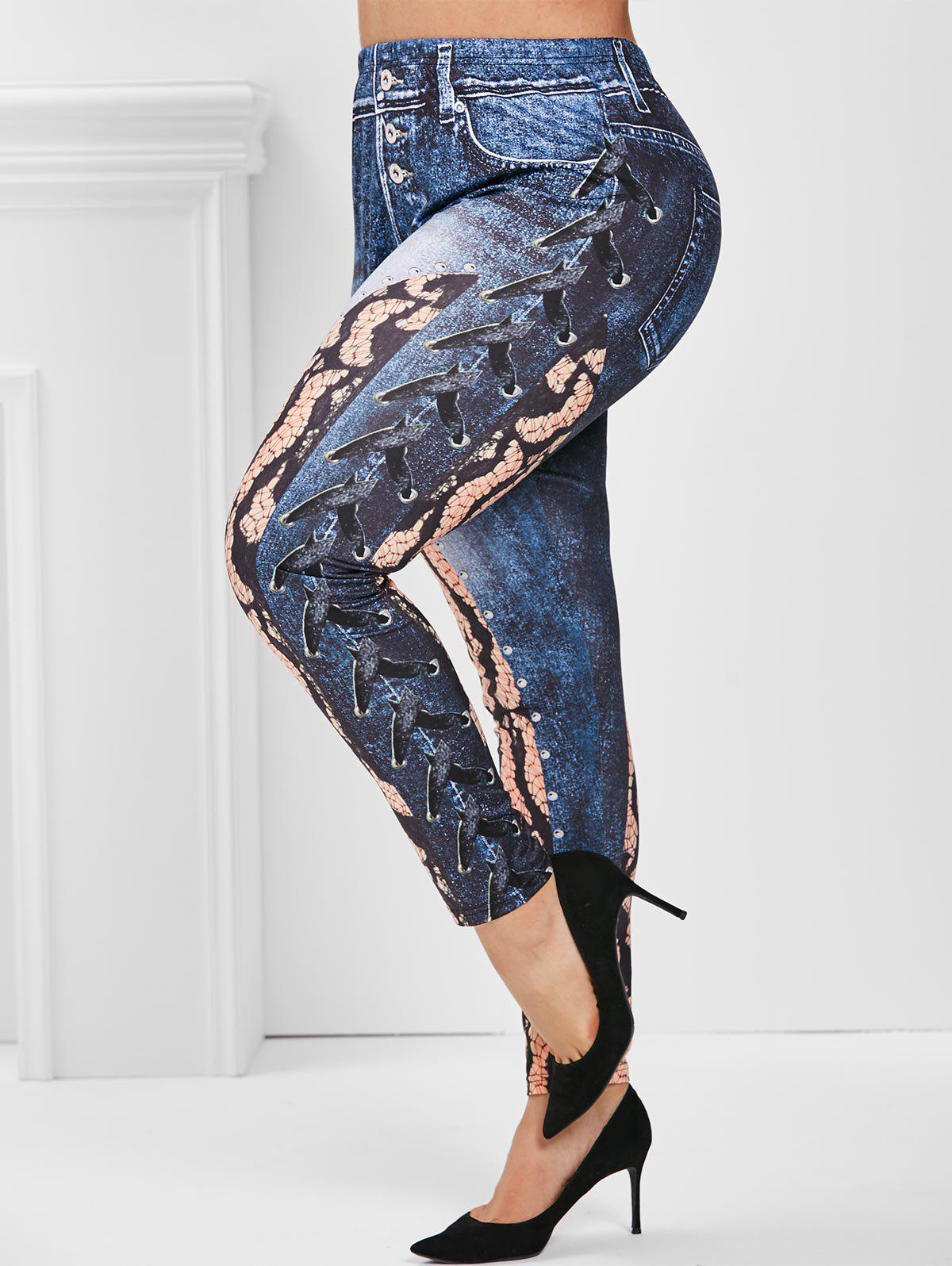 3D Print Animal High Waisted Plus Size Jeggings - BLUE 5X
