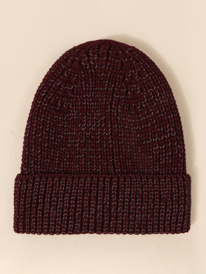 Reflective Mixed Color Knitted Hat - RED WINE