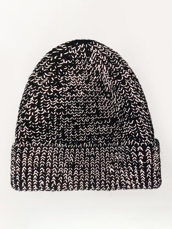 Reflective Mixed Color Knitted Hat - BLACK
