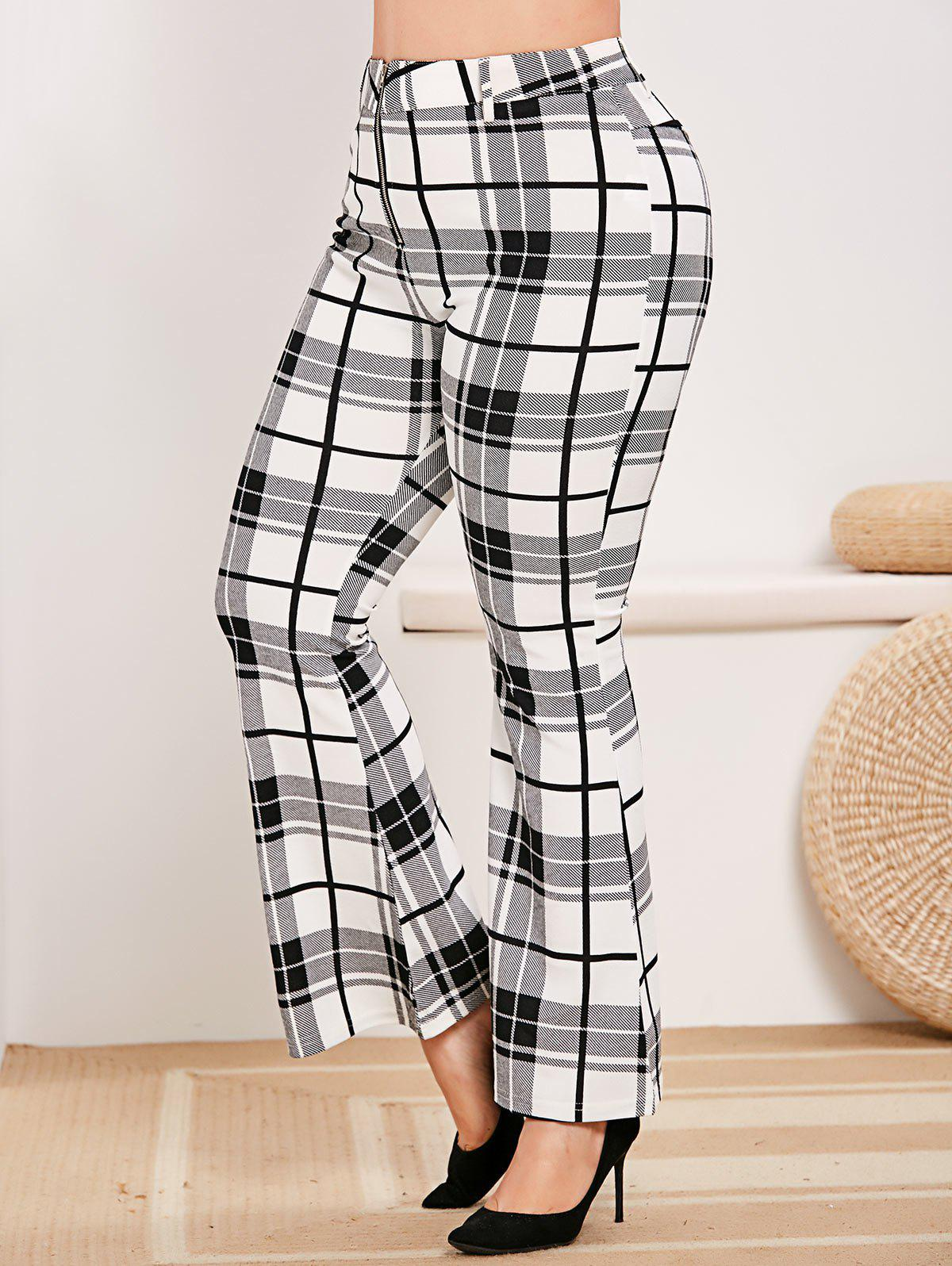 Plus Size Zip Fly Plaid Bell Bottom Pants - WHITE L