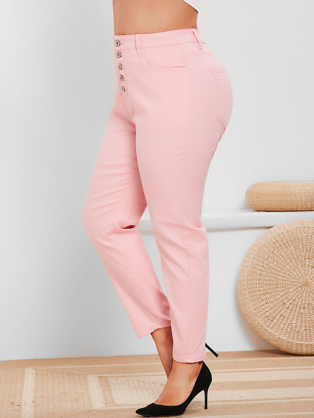 Plus Size High Rise Button Fly Colored Jeans - LIGHT PINK 5X