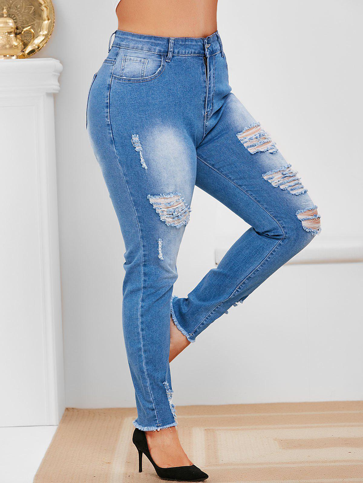 Plus Size High Rise Faded Ripped Jeans - BLUE L
