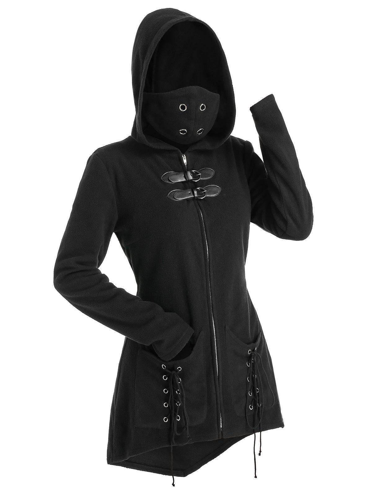 Hooded Lace-up Double Pockets Wool Blend Mask Coat - BLACK L