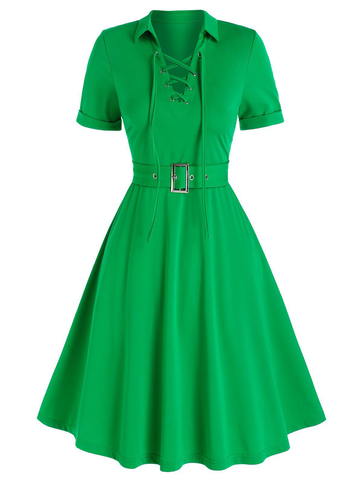 Lace-up Front Belted Flare Dress - GREEN L