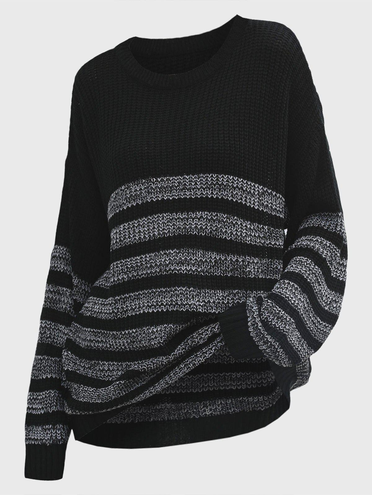 Crew Neck Striped Oversized Slouchy Sweater - BLACK M