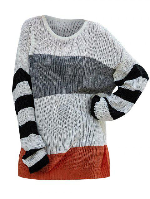 Color Blocking Striped Drop Shoulder Tunic Sweater