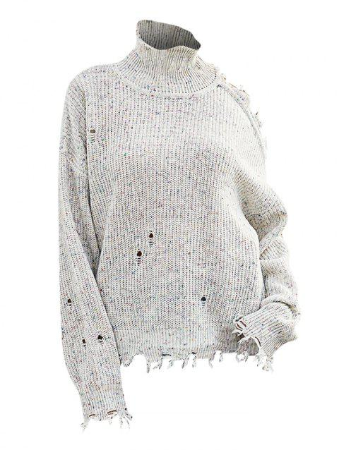 High Neck Heathered Ripped Open Shoulder Sweater