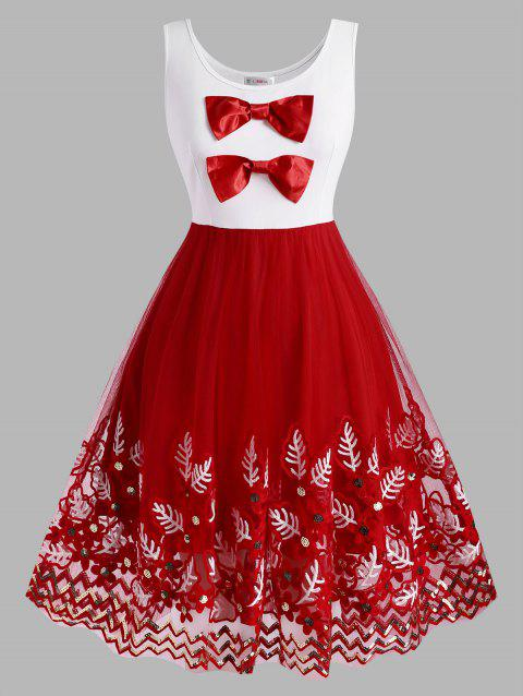 Bowknot Plant Embroidered Sequins Christmas Plus Size Dress