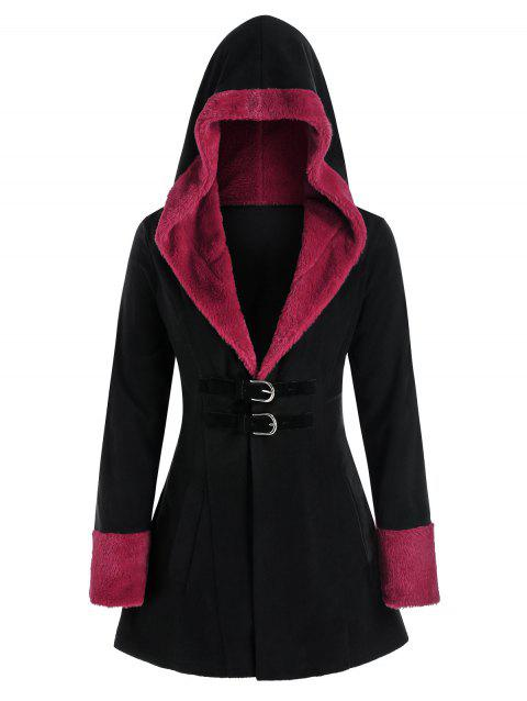 Plus Size Faux Fur Panel Hooded Buckle Front Coat