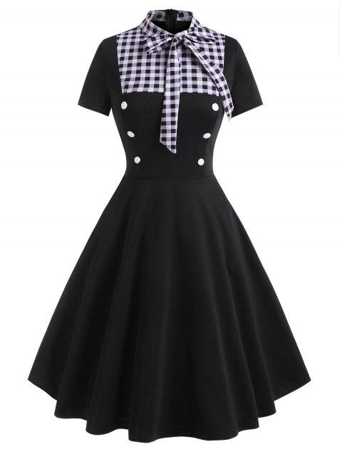 Gingham Pussy Bow Mock Button Dress