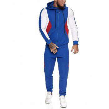 Contrast Zip Up Ribbed Hoodie and Sports Pants Two Piece Set