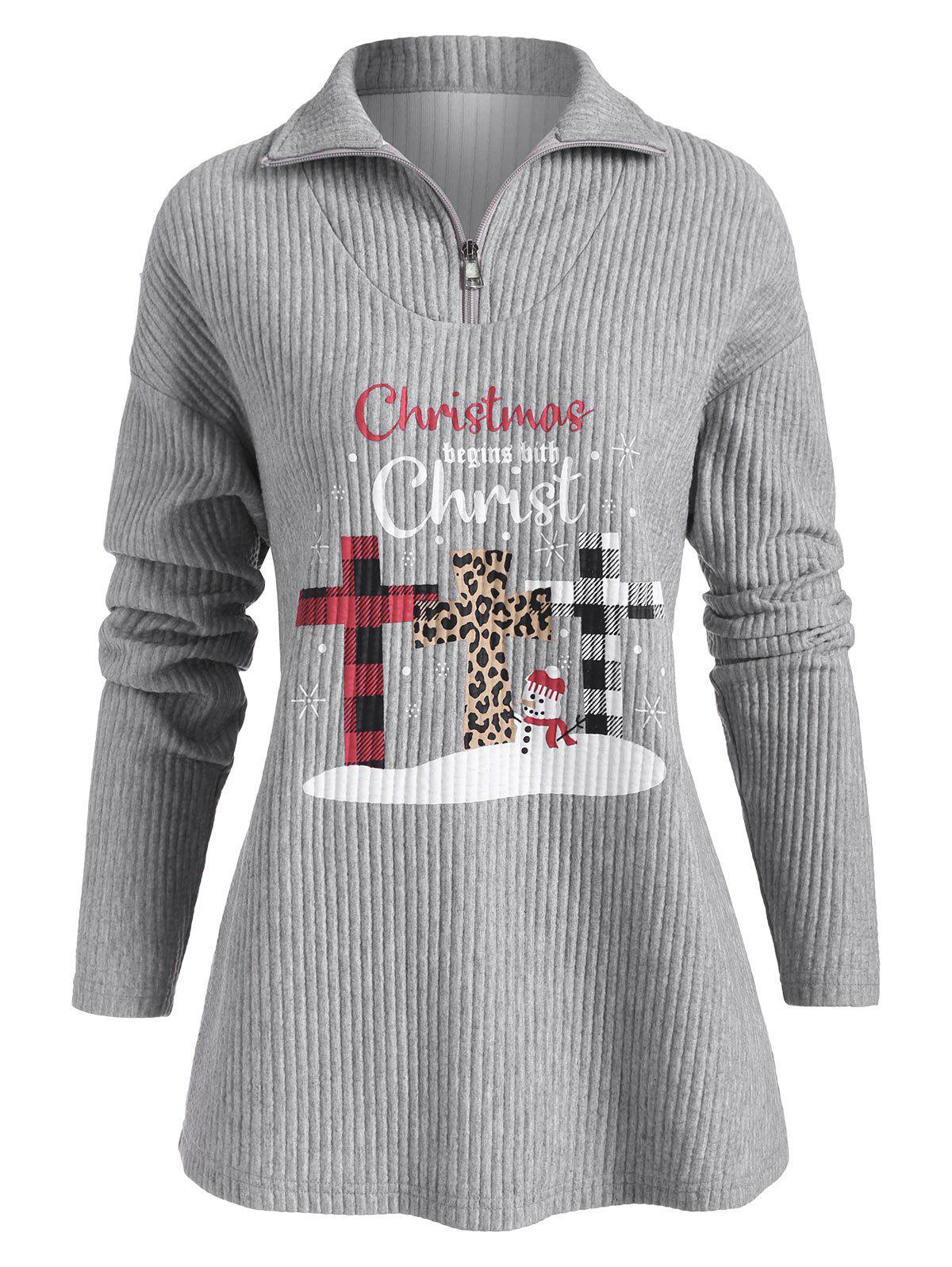 Quarter Zip Chirstmas Snowman Christ Graphic Sweatshirt - GRAY 2XL