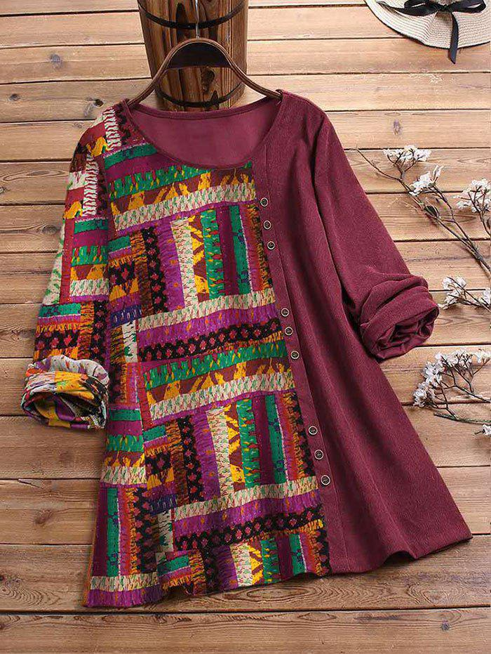 Plus Size Mixed Media Ethnic Print Corduroy Top - DEEP RED 2XL