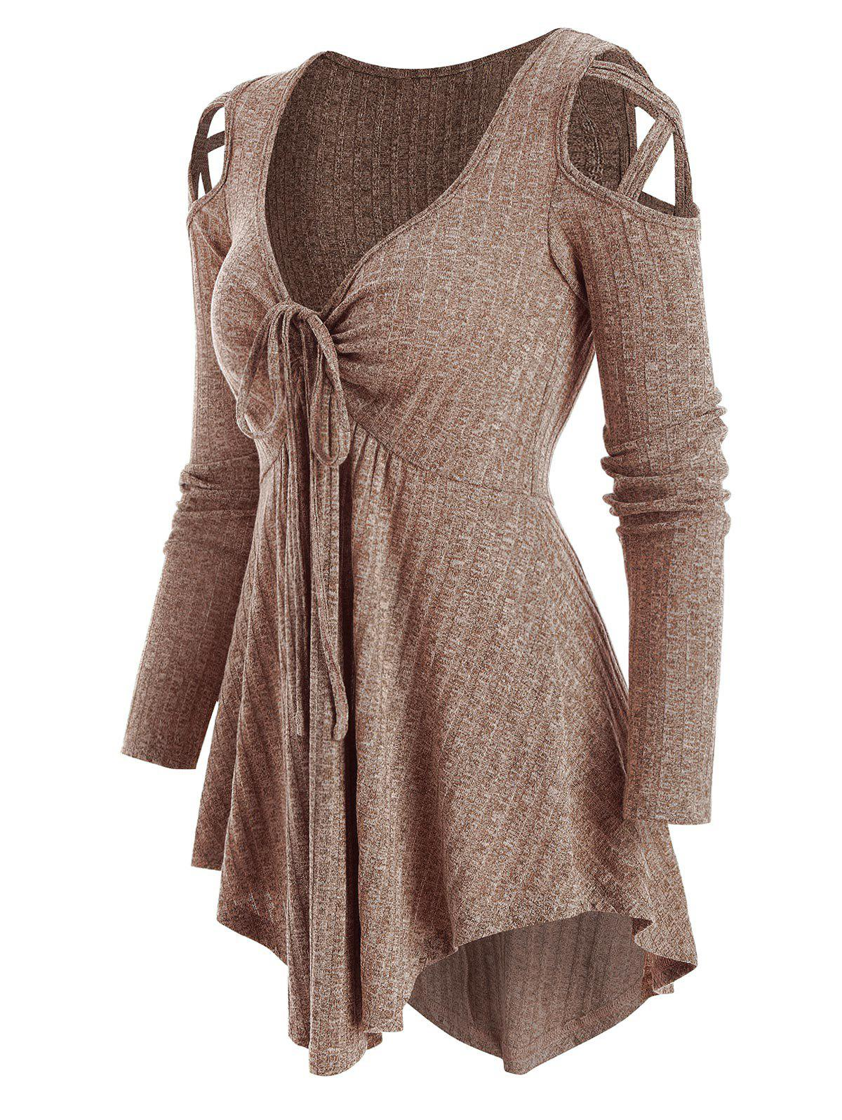 Cold Shoulder Front Drawstring Ribbed Asymmetrical Knitwear - COFFEE 2XL