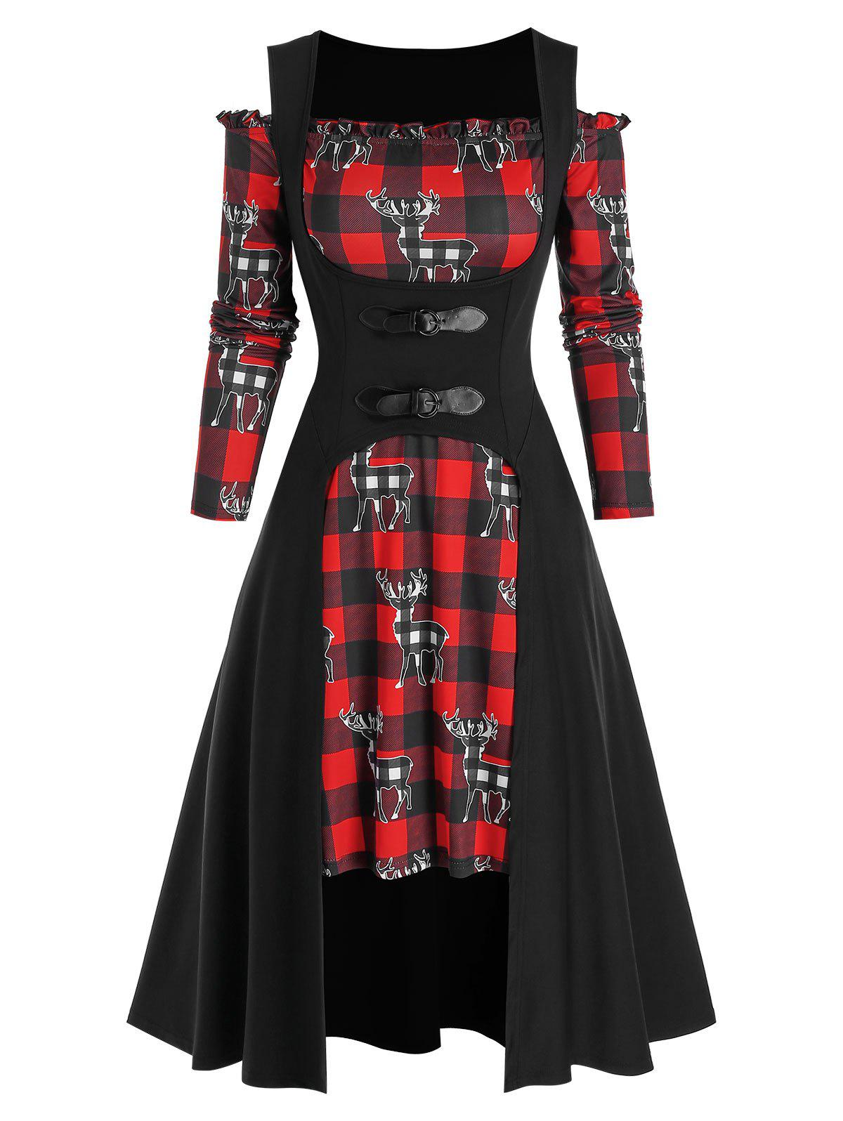 Christmas Plaid Elk Print Off Shoulder Dress and Buckle Top Set - BLACK 3XL