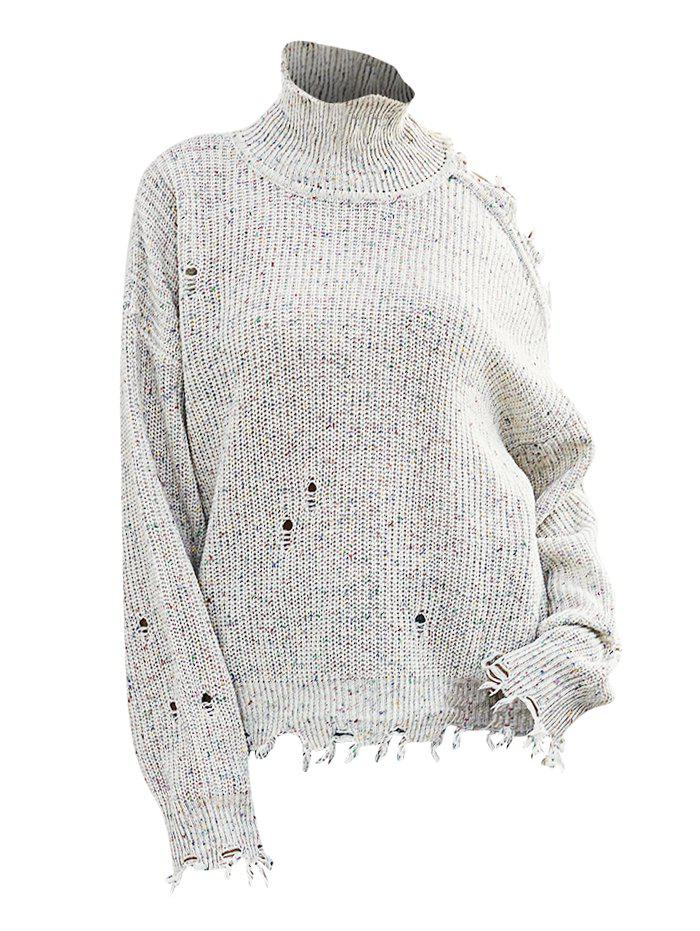 High Neck Heathered Ripped Open Shoulder Sweater - WHITE L