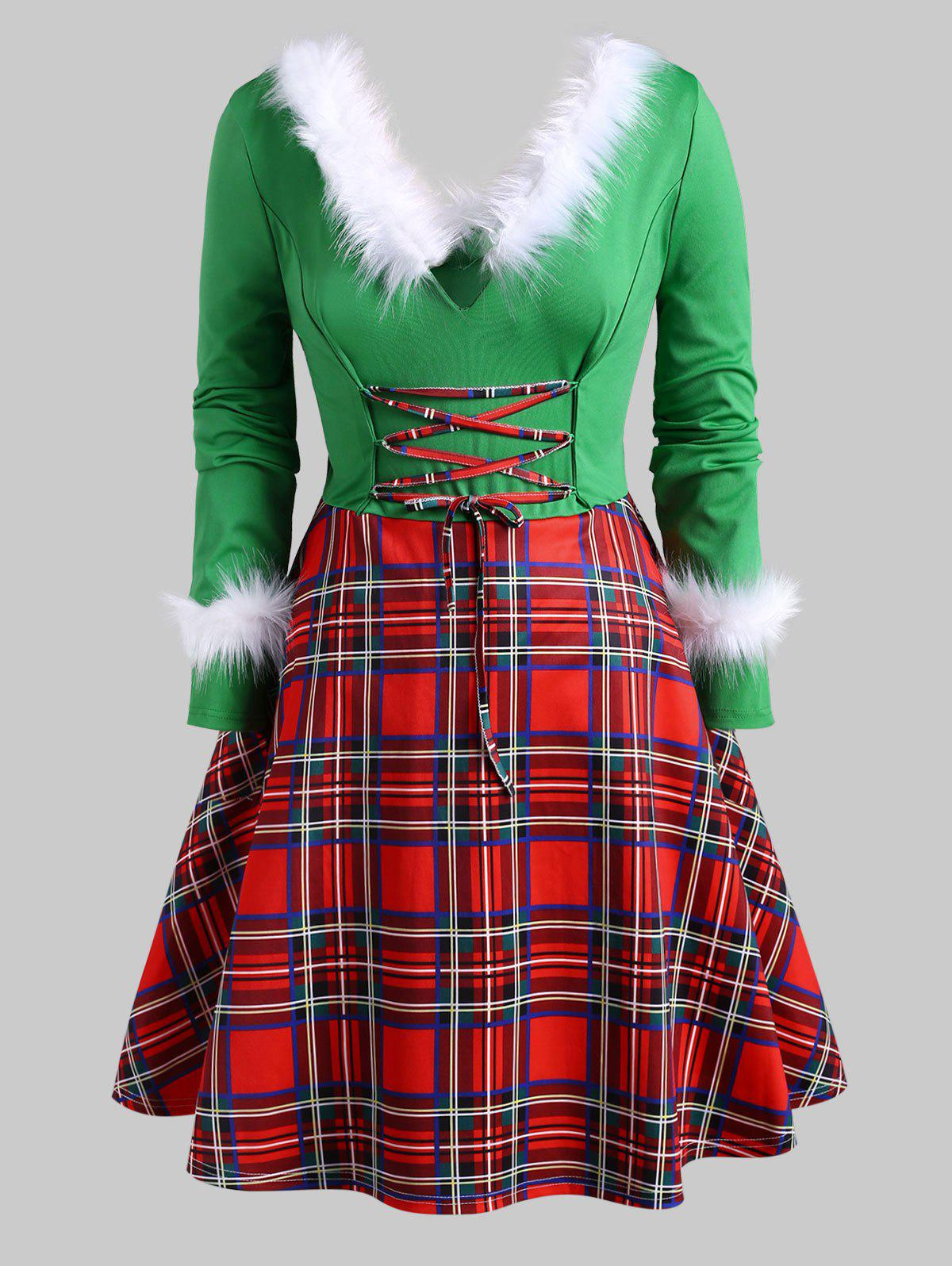 Faux Feather Plaid Lace Up Christmas Plus Size Dress - GREEN 1X