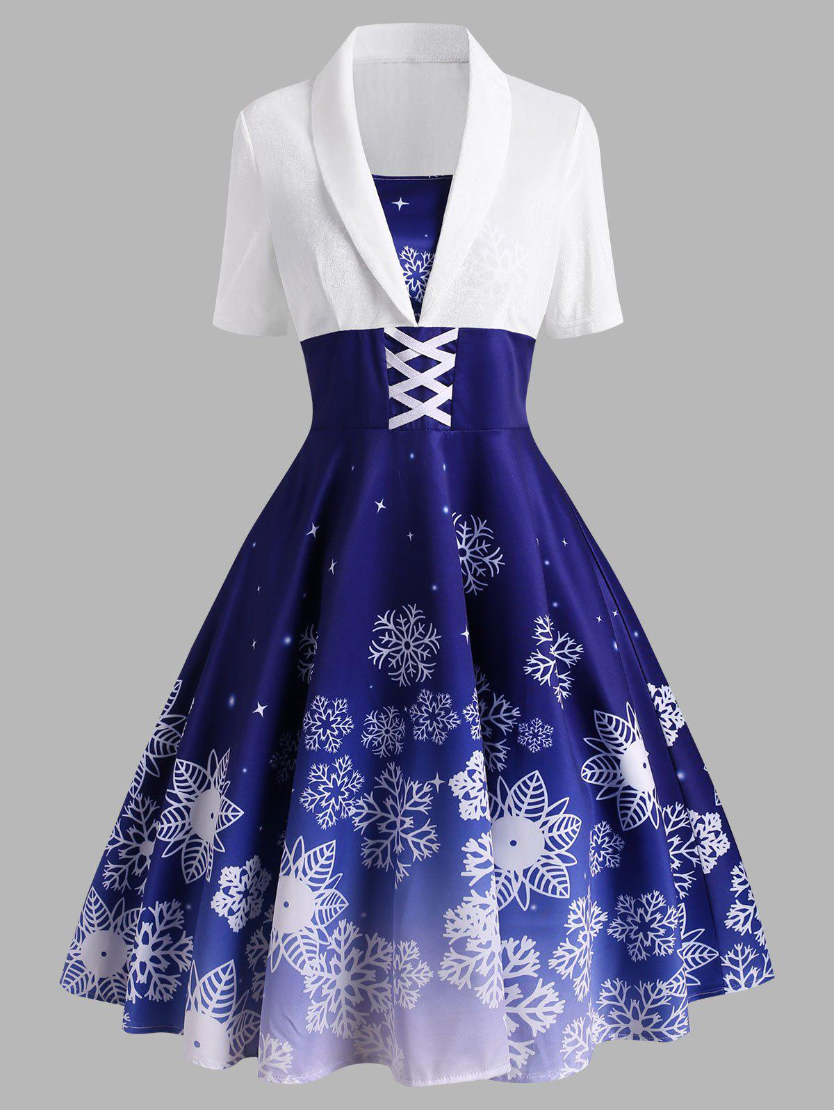 Christmas Snowflake Criss Cross Velvet Insert Dress - BLUE M