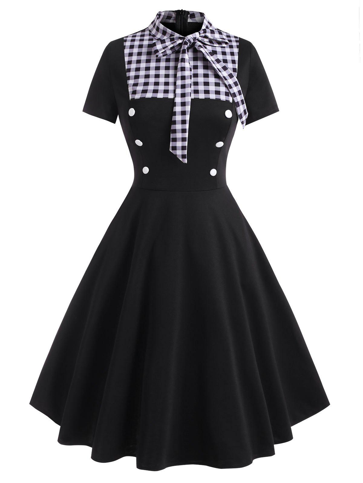 Gingham Pussy Bow Mock Button Dress - BLACK S