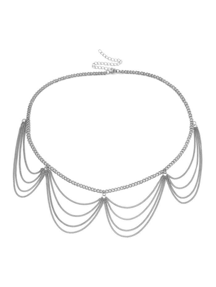 Multilayered Wavy Metal Waist Chain - SILVER
