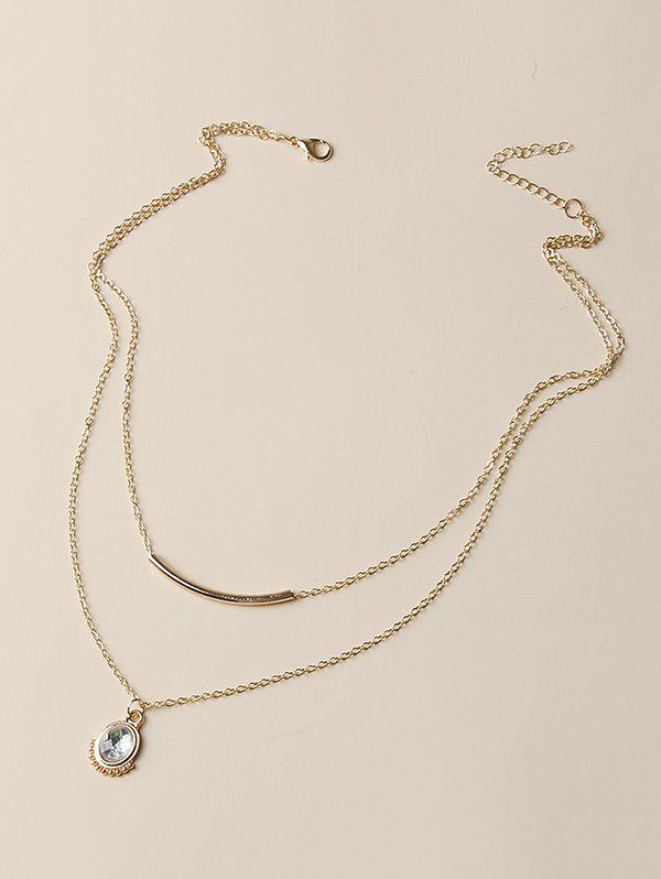 Oval Faux Crystal Pendant Layered Necklace - GOLDEN