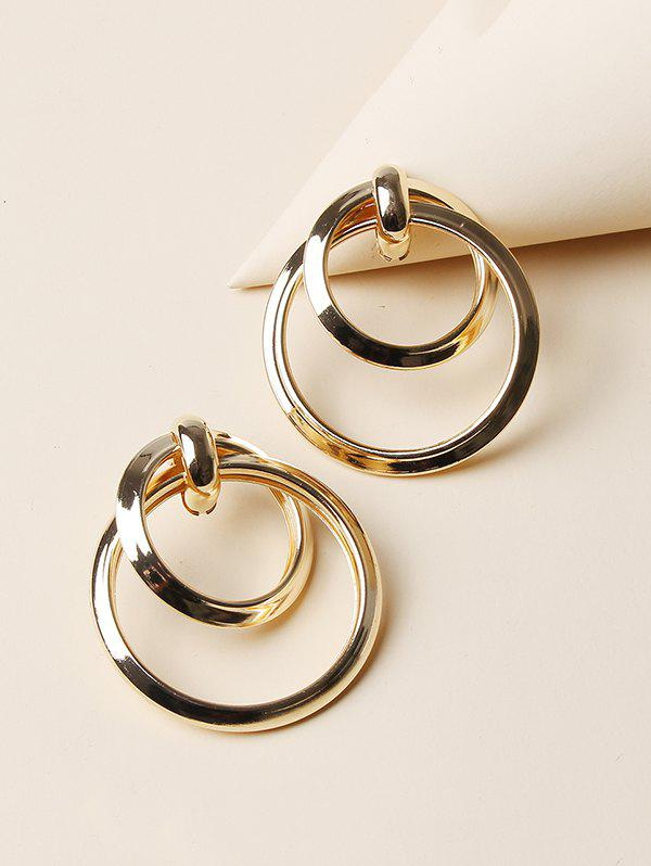 Hollow Double Circle Alloy Earrings - GOLDEN