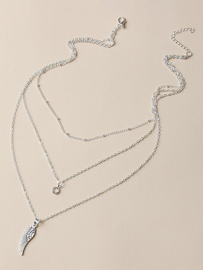 Wing Shape Pendant Layered Chain Necklace - SILVER