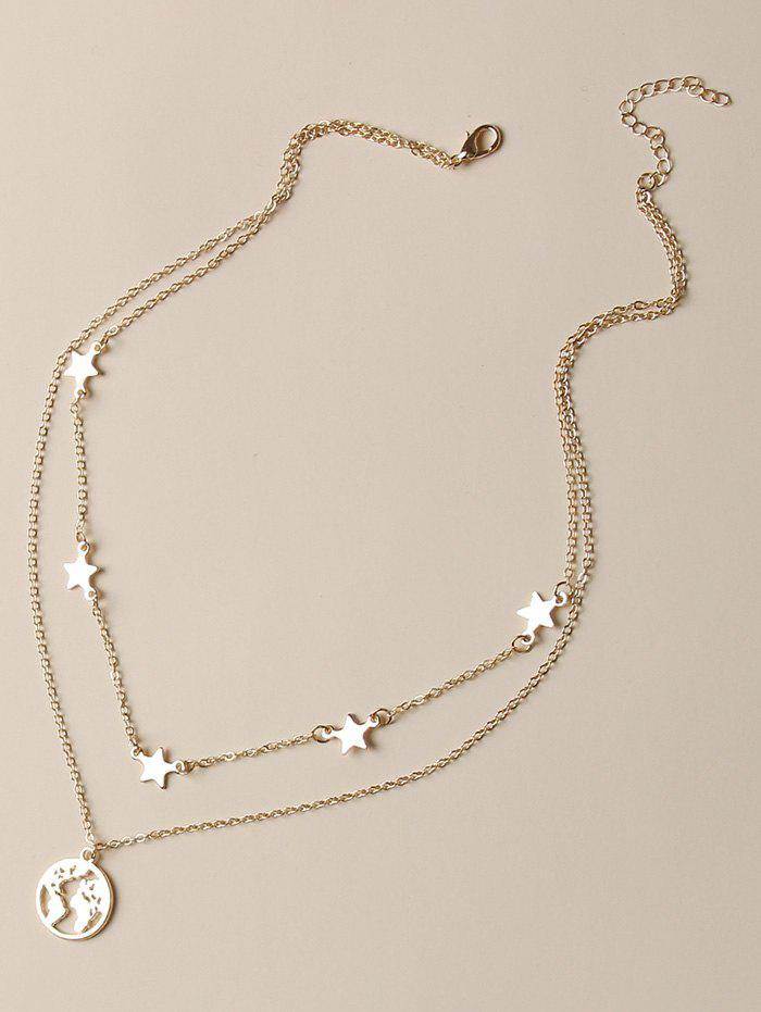 Hollow Map Pendant Star Layers Chain Necklace - GOLDEN