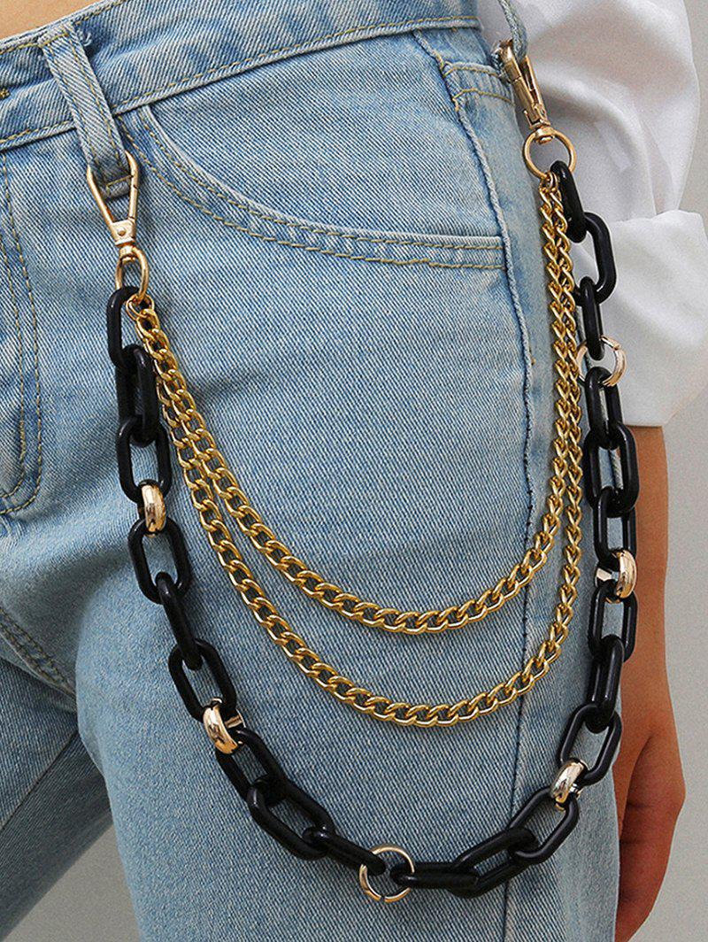 Punk Multilayered Colored Trousers Chain - BLACK