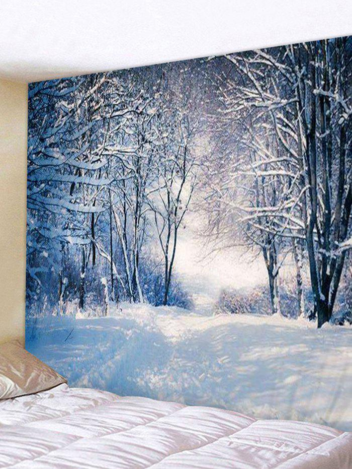 Snowy Forest 3D Print Background Wall Tapestry - BLUE KOI W91 X L71 INCH