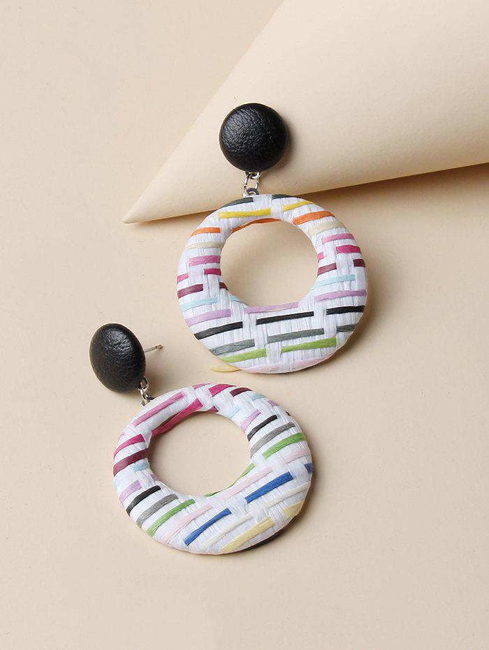 Round Colorblock  Woven Earrings - multicolor A