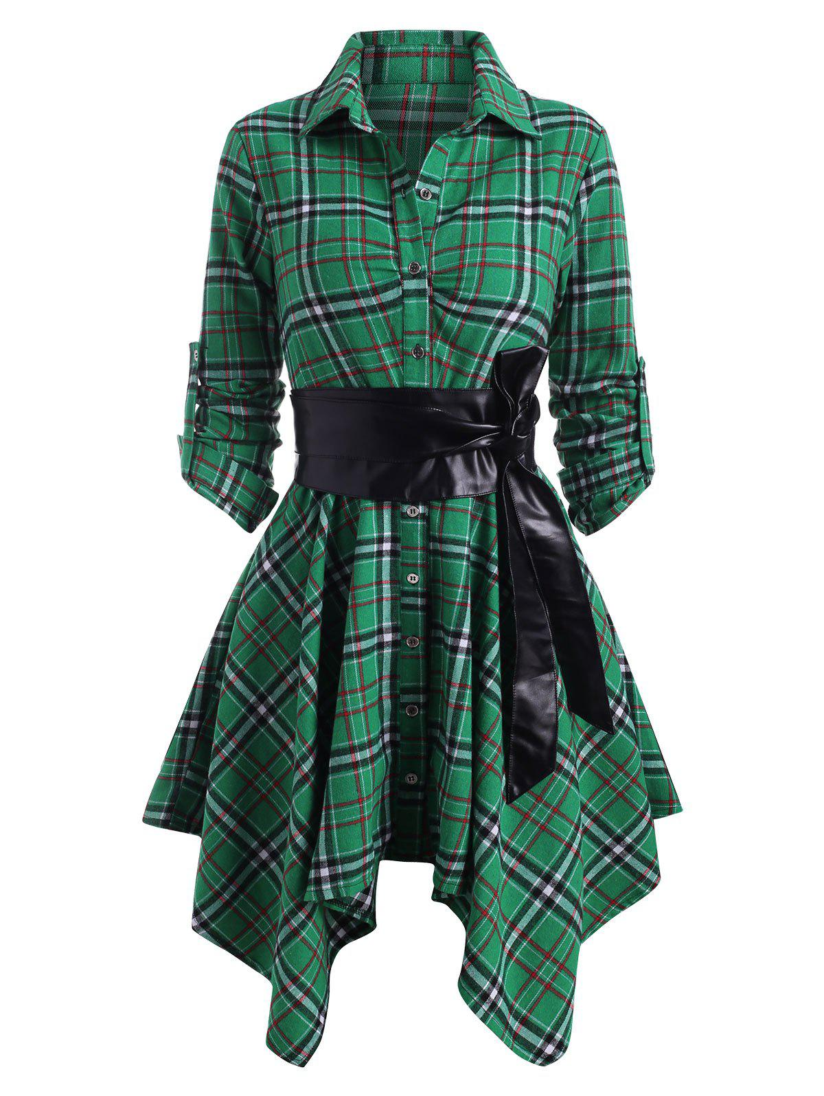 Plaid Belted Roll Up Sleeve Handkerchief Dress - EMERALD GREEN M